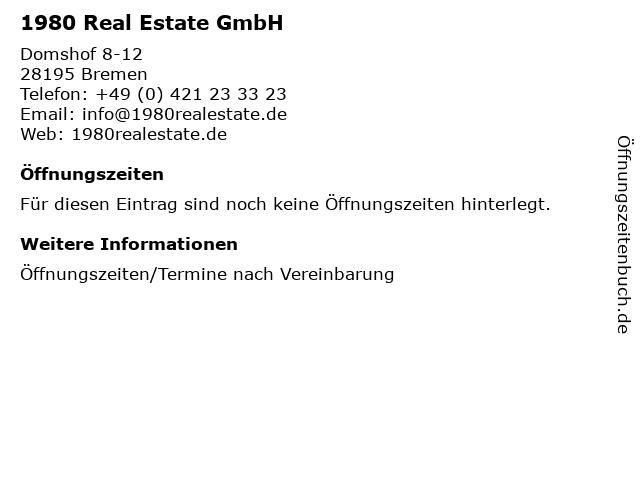 1980 Real Estate GmbH in Bremen: Adresse und Öffnungszeiten