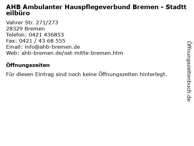 AHB Ambulanter Hauspflegeverbund Bremen in Bremen: Adresse und Öffnungszeiten