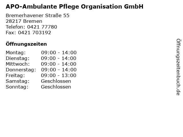 APO-Ambulante Pflege Organisation GmbH in Bremen: Adresse und Öffnungszeiten