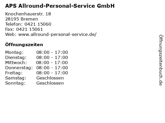 APS Allround-Personal-Service GmbH in Bremen: Adresse und Öffnungszeiten