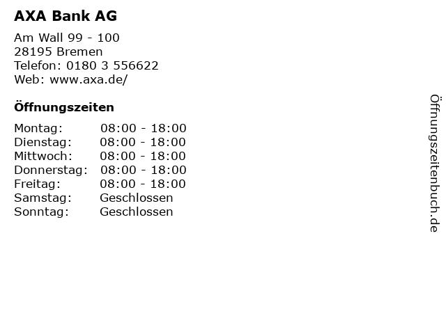 AXA Bank AG in Bremen: Adresse und Öffnungszeiten