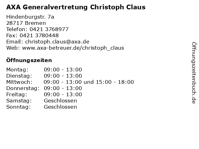 AXA Generalvertretung Christoph Claus in Bremen: Adresse und Öffnungszeiten