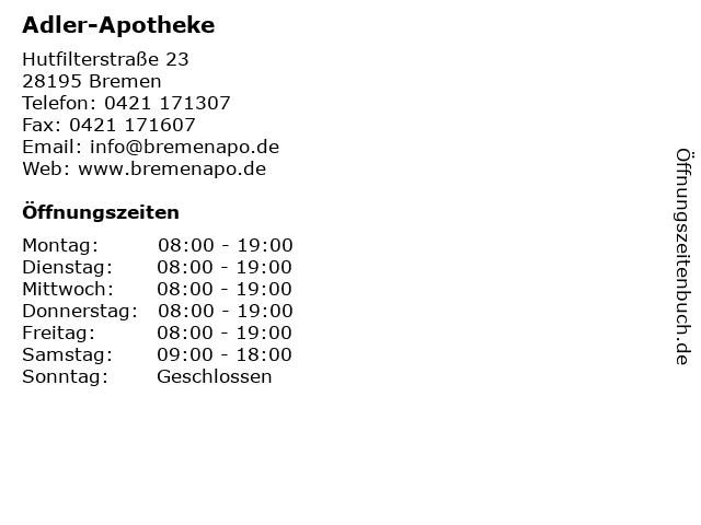 Adler-Apotheke - Kychosro Iraji in Bremen: Adresse und Öffnungszeiten