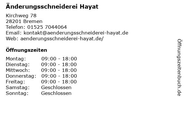 Änderungsschneiderei Hayat in Bremen: Adresse und Öffnungszeiten