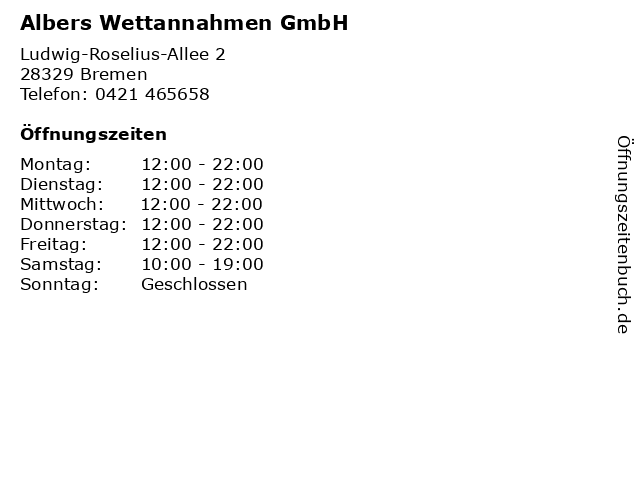 Albers Wettannahmen GmbH in Bremen: Adresse und Öffnungszeiten