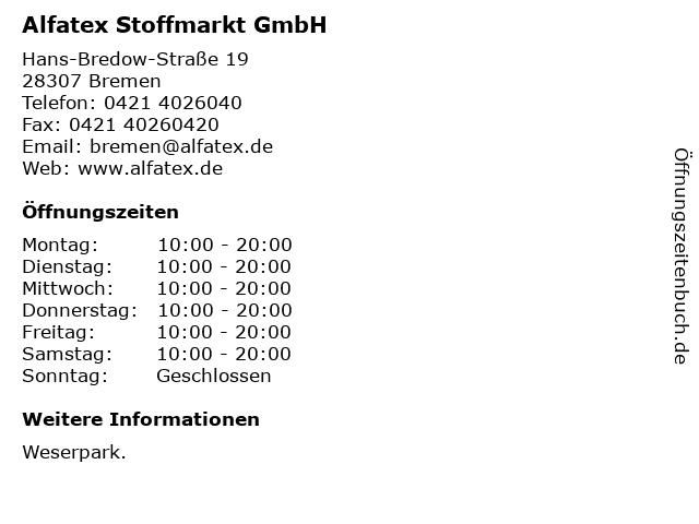 Alfatex Stoffmarkt GmbH in Bremen: Adresse und Öffnungszeiten
