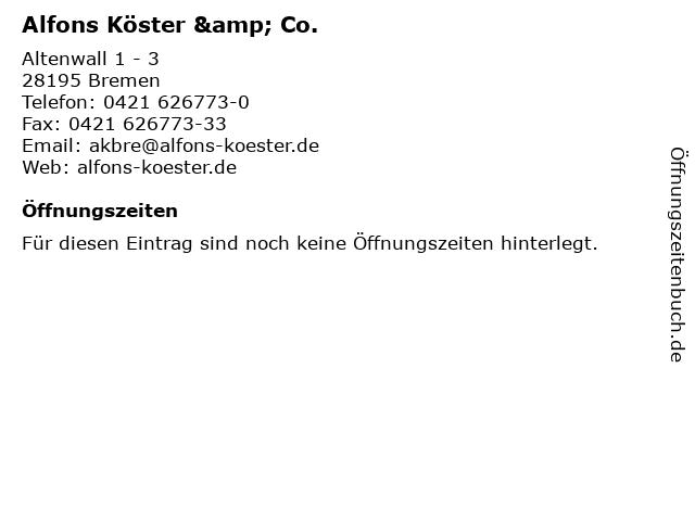 Alfons Köster & Co. in Bremen: Adresse und Öffnungszeiten