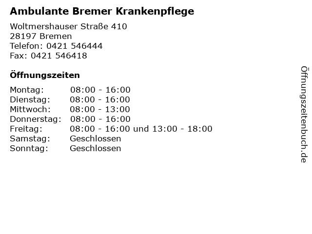 Ambulante Bremer Krankenpflege in Bremen: Adresse und Öffnungszeiten