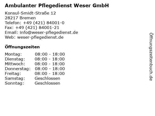 Ambulanter Pflegedienst Weser GmbH in Bremen: Adresse und Öffnungszeiten