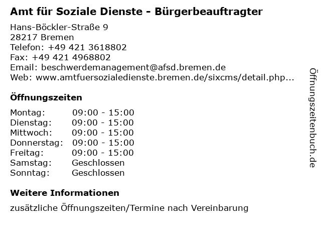Amt für Soziale Dienste - Bürgerbeauftragter in Bremen: Adresse und Öffnungszeiten