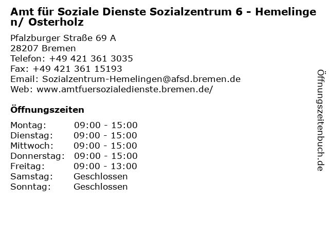 Amt für Soziale Dienste Sozialzentrum 6 - Hemelingen/ Osterholz in Bremen: Adresse und Öffnungszeiten