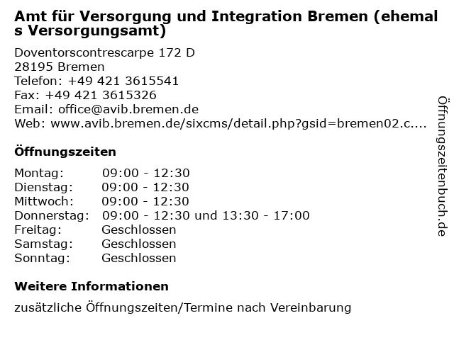 Amt für Versorgung und Integration Bremen (ehemals Versorgungsamt) in Bremen: Adresse und Öffnungszeiten
