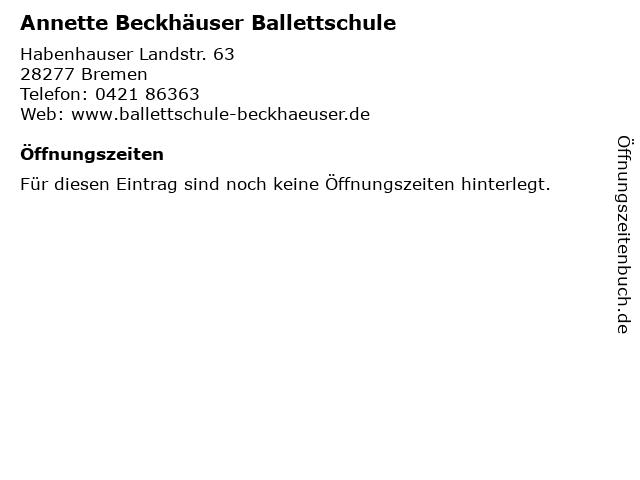 Annette Beckhäuser Ballettschule in Bremen: Adresse und Öffnungszeiten
