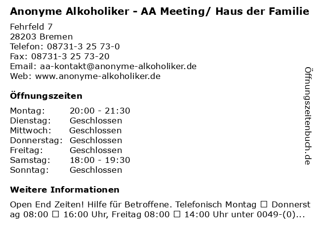 Anonyme Alkoholiker - AA Meeting/ Haus der Familie in Bremen: Adresse und Öffnungszeiten