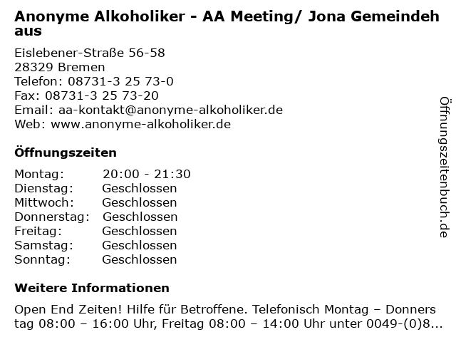 Anonyme Alkoholiker - AA Meeting/ Jona Gemeindehaus in Bremen: Adresse und Öffnungszeiten