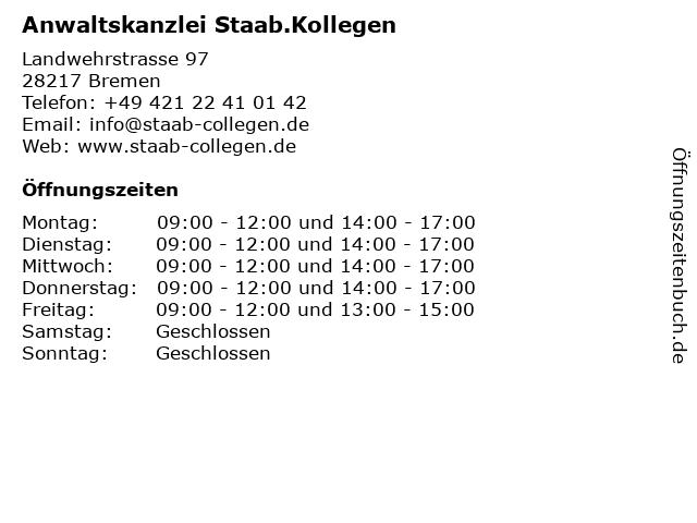 Anwaltskanzlei Staab.Kollegen in Bremen: Adresse und Öffnungszeiten
