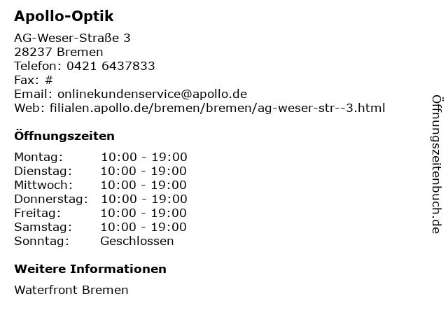 Apollo-Optik Holding GmbH & Co. KG in Bremen: Adresse und Öffnungszeiten