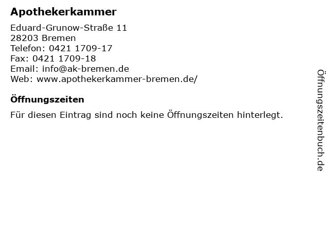 Apothekerkammer in Bremen: Adresse und Öffnungszeiten