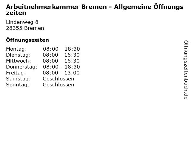 Arbeitnehmerkammer Bremen - Allgemeine Öffnungszeiten in Bremen: Adresse und Öffnungszeiten