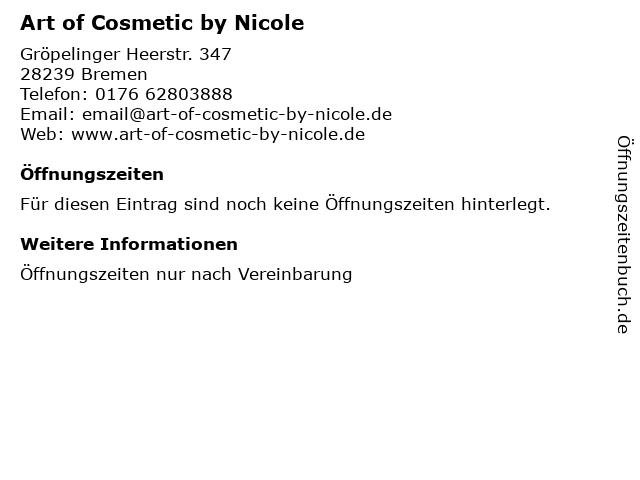Art of Cosmetic by Nicole in Bremen: Adresse und Öffnungszeiten