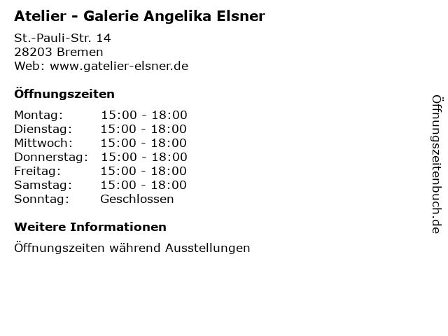 Atelier - Galerie Angelika Elsner in Bremen: Adresse und Öffnungszeiten