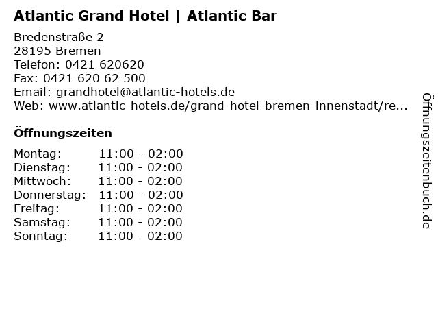 Atlantic Grand Hotel | Atlantic Bar in Bremen: Adresse und Öffnungszeiten