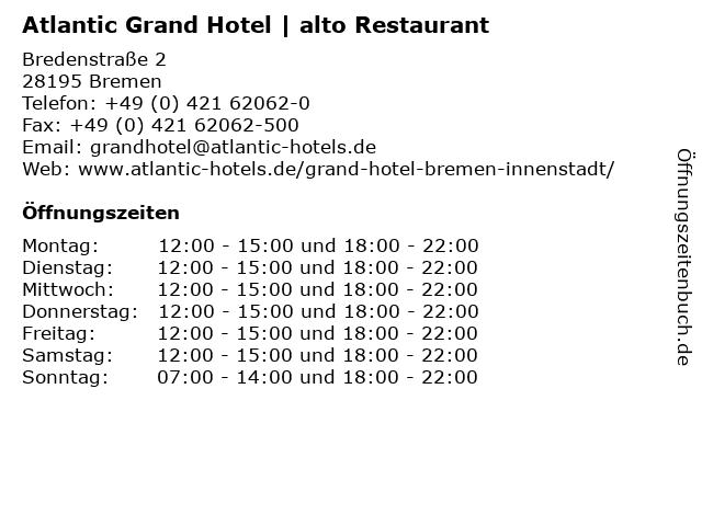 Atlantic Grand Hotel | alto Restaurant in Bremen: Adresse und Öffnungszeiten