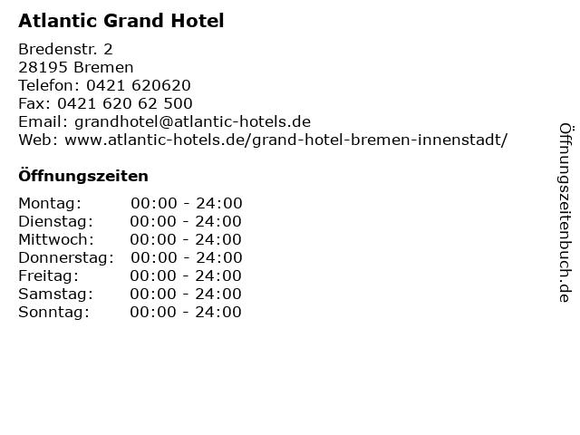 Atlantic Grand Hotel in Bremen: Adresse und Öffnungszeiten
