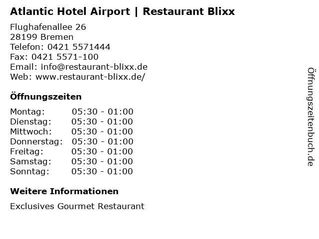 Atlantic Hotel Airport | Restaurant Blixx in Bremen: Adresse und Öffnungszeiten