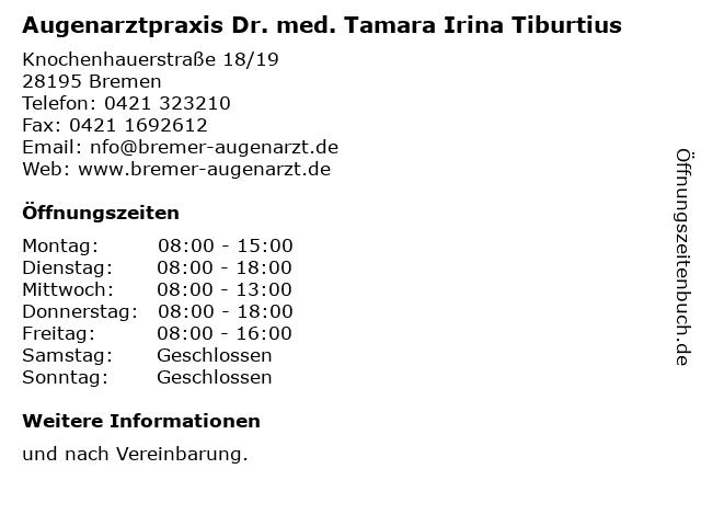 Augenarztpraxis Dr. med. Tamara Irina Tiburtius in Bremen: Adresse und Öffnungszeiten