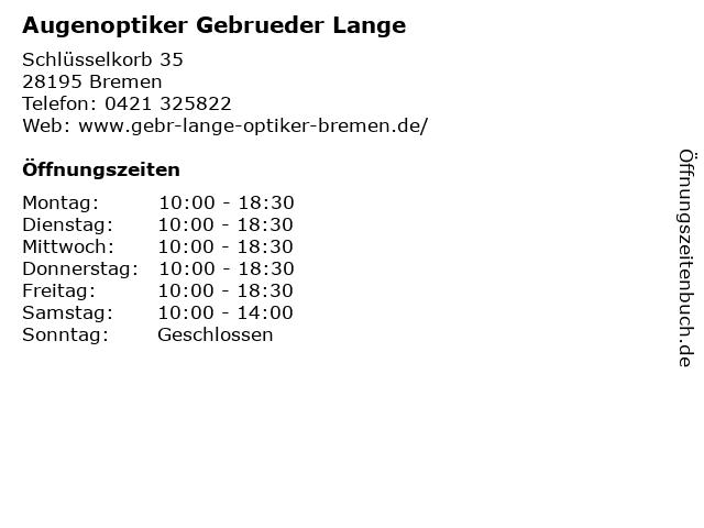 Augenoptiker Gebrueder Lange in Bremen: Adresse und Öffnungszeiten