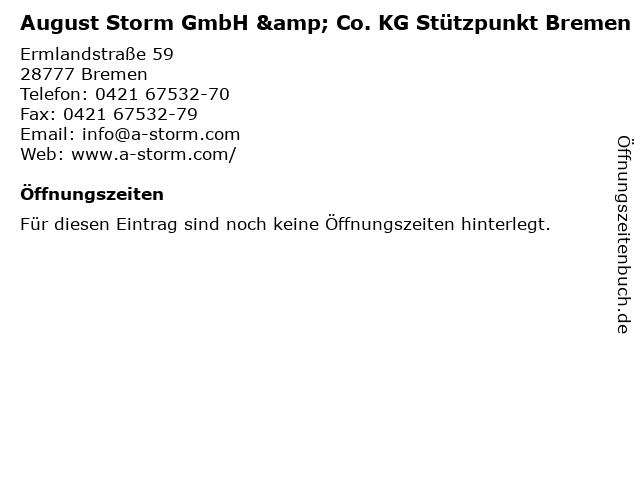 August Storm GmbH & Co. KG Stützpunkt Bremen in Bremen: Adresse und Öffnungszeiten