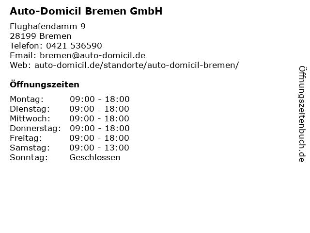 Auto-Domicil Bremen GmbH in Bremen: Adresse und Öffnungszeiten