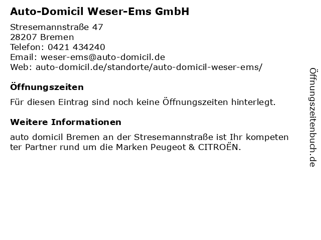 Auto-Domicil Weser-Ems GmbH in Bremen: Adresse und Öffnungszeiten