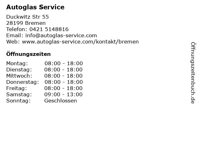 Autoglas Service in Bremen: Adresse und Öffnungszeiten