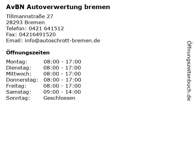 ᐅ öffnungszeiten Avbn Autoverwertung Bremen Tillmannstraße 27