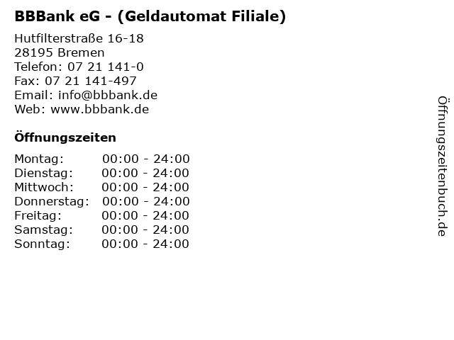 BBBank eG - (Geldautomat Filiale) in Bremen: Adresse und Öffnungszeiten