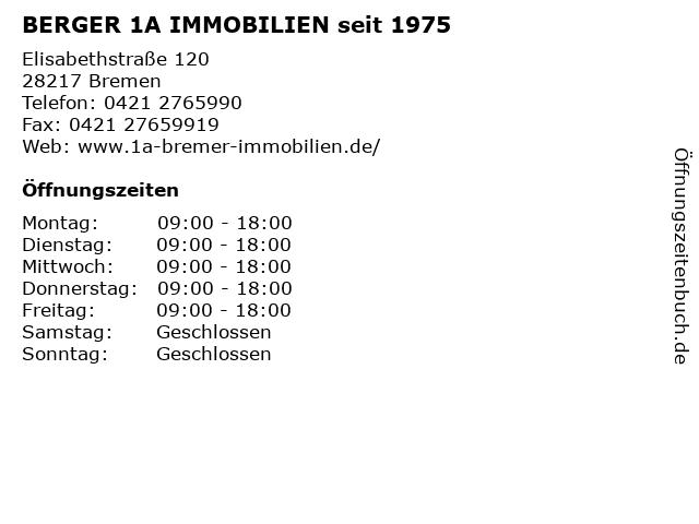 BERGER 1A IMMOBILIEN seit 1975 in Bremen: Adresse und Öffnungszeiten
