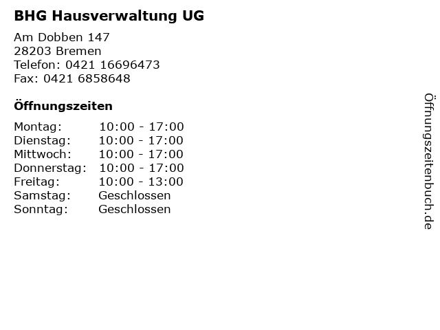 BHG Hausverwaltung UG in Bremen: Adresse und Öffnungszeiten