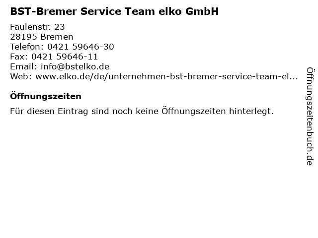 BST-Bremer Service Team elko GmbH in Bremen: Adresse und Öffnungszeiten