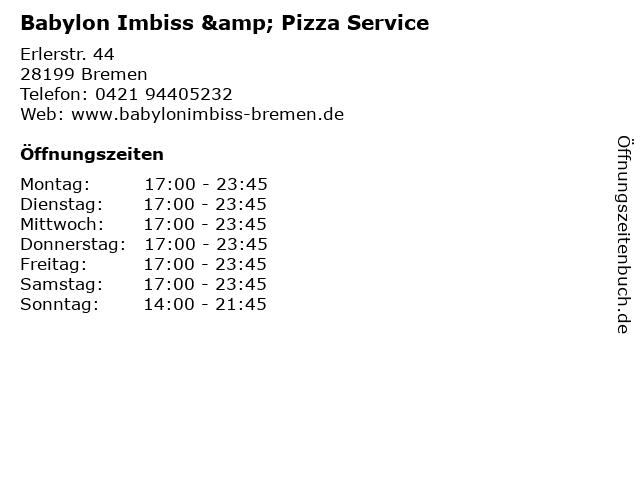 Babylon Imbiss & Pizza Service in Bremen: Adresse und Öffnungszeiten