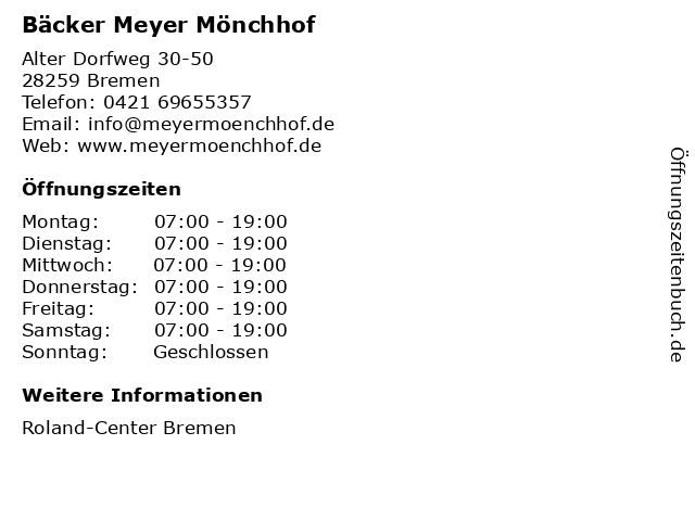 Bäcker Meyer Mönchhof in Bremen: Adresse und Öffnungszeiten