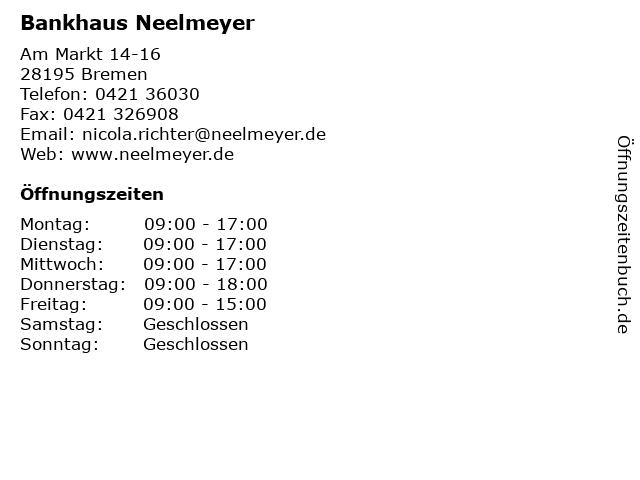 Bankhaus Neelmeyer in Bremen: Adresse und Öffnungszeiten
