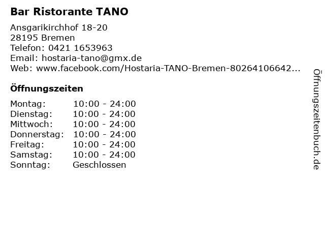 Bar Ristorante TANO in Bremen: Adresse und Öffnungszeiten