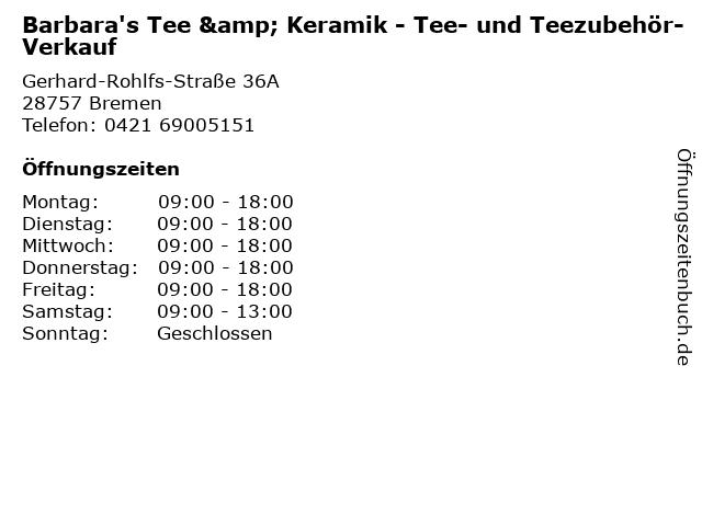 Barbara's Tee & Keramik - Tee- und Teezubehör-Verkauf in Bremen: Adresse und Öffnungszeiten
