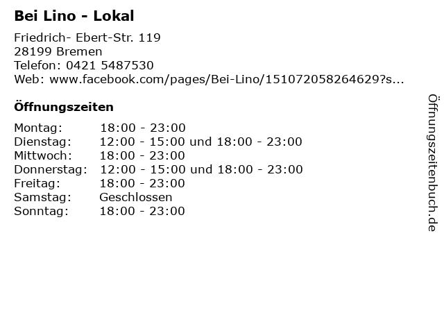 Bei Lino - Lokal in Bremen: Adresse und Öffnungszeiten