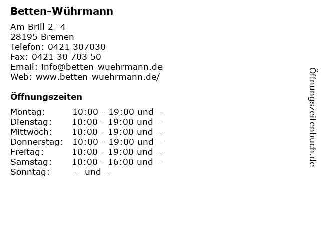 Betten-Wührmann in Bremen: Adresse und Öffnungszeiten