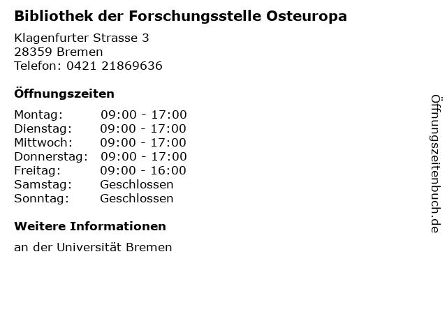 Bibliothek der Forschungsstelle Osteuropa in Bremen: Adresse und Öffnungszeiten