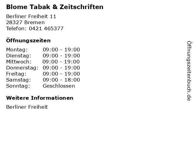Blome Tabak & Zeitschriften in Bremen: Adresse und Öffnungszeiten
