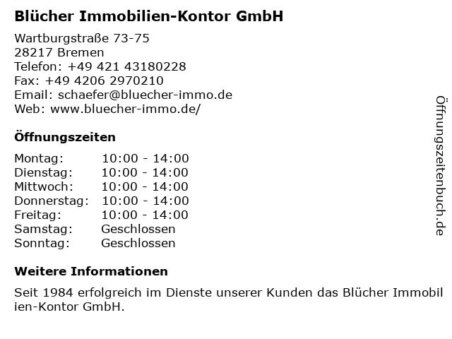 Blücher Immobilien-Kontor GmbH in Bremen: Adresse und Öffnungszeiten